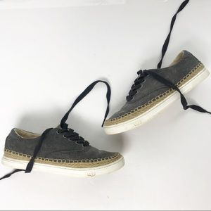 Ugg Eyan II Gray Canvas Low Top Lace Up Sneakers 6